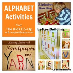 3 Alphabet Activities from The Kids Co-Op at B-InspiredMama.com -- features our Alpha-Bath activity! :)