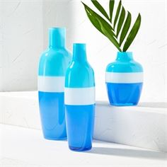 Azure Set of 3 Striped Vases Santorini, Water Bottle, Two's Company, Home Decor, Vases, Larger, Awesome, Image, Decoration Home