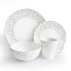 american atelier bianca white 16piece dinnerware set earthenware garden