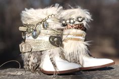 brand NEW any style & size boots Upcycled style by TheLookFactory Bohemian Boots, Gypsy Boots, Hippie Boots, Bohemian Mode, Cowgirl Boots, Western Boots, Fashion Boots, Boho Fashion, Boot Jewelry
