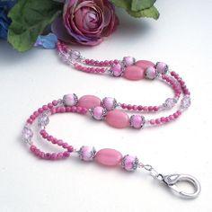 Pink Beaded ID Badge Lanyard – Plum Beadacious $27.00 www.plumbead.com
