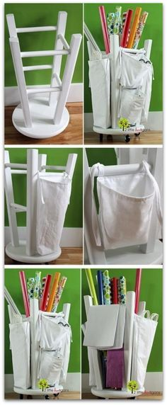 wrapping paper organization - Be on the lookout for old stools!