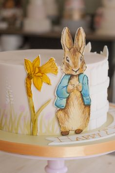 Peter Rabbit birthday cake, handpainted for a girl birthday sharp edges icing