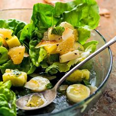 In this healthy side salad recipe, hearts of palm bring balance to the flavors of this pleasantly sweet tropical fruit salad with pineapple, grapefruit and bananas. Serve alongside grilled chicken or coconut-crusted fish. #easter #recipe #eatingwell #healthy
