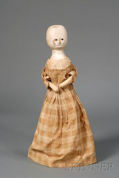 QUEEN ANNE TYPE WOODEN DOLL, ENGLAND, LATE 18TH/EARLY 19TH CENTURY, WITH TURNED HEAD, INSET BLACK PUPILESS EYES, CLOSED MOUTH, HEAD AND - SCIENCE, TECHNOLOGY & CLOCKS - SALE 2447 - LOT 538 - Skinner Inc