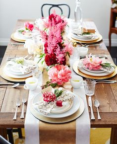 Valentine's Pink, Red, Gold, White and Natural wood rustic glam tablescape