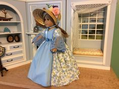 "VICTORIAN BLUE PRINT DRESS & ACCESSORIES - 18"" AMERICAN GIRL, CAROLINE, FELICITY #SataHaykushDesigns #ClothingShoes"