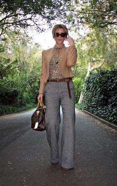 cat eye sunglasses+camel jacket+salt and pepper tweed wide… | Flickr