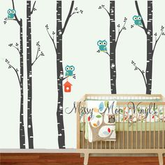 QUICK SHIP Birch Trees with Owls, Bird house,owl decal, Set of 5 Birch Birch Nursery Wall Vinyl Decal FREE application tool