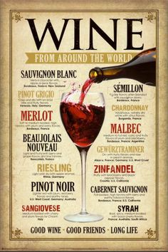 Wine From Around The World Tin Sign Good Wine Friends Good Life Merlot Syrah Guide Vin, Wine Guide, Vintage Wine, Retro Vintage, Vintage Metal, Vintage Style, Vintage Decor, Tips & Tricks, Wine Parties