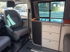 Evo 5 pro front only - 1 Vw T5 Interior, Campervan Interior, Campervan Furniture, Rock And Roll Bed, Door Table, Camper Van Conversion Diy, Metal Drawers, Panel Bed
