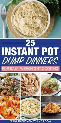 Dump dinners for the Instant Pot: Lots of easy dinner recipes. Dump and push start, then spend time with the family while dinner cooks itself. food recipes 25 Delicious Instant Pot Dump Dinners for Easy Weeknight Meals Dump Dinners, One Pot Dinners, Easy Dinners, Crock Pot Dump Meals, Easy One Pot Meals, Freezer Meals, Quick Meals, Instant Pot Pressure Cooker, Pressure Cooker Recipes