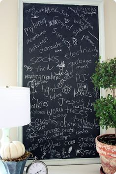 Everyone in the family writes what they are thankful for on chalkboard.  From 320 Sycamore.  Could do for Thanksgiving or just as a daily or regular tradition.  *If doing for Thanksgiving, remember to take a photo to document to reminisce later.