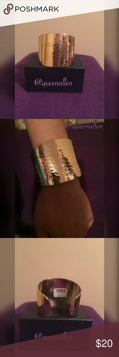 Hammered Gold Cuff Bangle Hammered Cuff Bracelet. Gold Plated. Classy And Chic! Approximately 7 Inches. Jewelry Bracelets