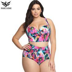 NAKIAEOI 2017 New Bikinis High Waist Swimsuit Women Plus Size Swimwear Print Vintage Retro Floral Beach Push Up Bikini Set 4XL