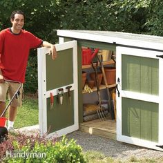 Assemble this easy-to-build storage locker for your outdoor tools. It's low and compact, yet spacious enough hold your lawnmower, long-handled tools and all your gardening materials.
