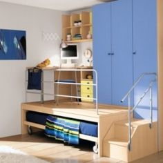 Cool Boy Room Designs pull out desks with a trundle bed hidden below - cool. if i ever