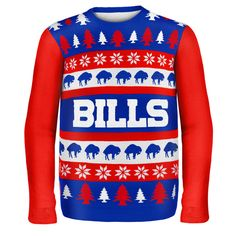 Buffalo Bills NFL Ugly Sweater Wordmark available at uglyteams.com. Check out uglyteams.com for other merchandise and accessories! #BuffaloBills #Buffalo #Bills