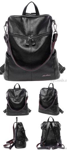 Unique Girl's PU Square Multifunction Rivets Leisure Laptop School Backpack for big sale! #Backpack #Bag #squre #rivet
