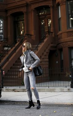 Monochromatic Grey Outfit, Fall Style, Helena of Brooklyn Blonde Monochrome Outfit, Grey Outfit, All Black Outfit, Grey Leather Jacket, Leather Jacket Outfits, Balenciaga Sunglasses, Brooklyn Blonde, Parisian Chic Style, Grey Fashion