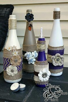 Don't throw out those empty bottle! Repurposed DIY bottle crafts can be found in many shapes and sizes, so that you are still able to use them if the previous reduction of red was squeezed out of the cork. Empty Wine Bottles, Wine Bottle Corks, Diy Bottle, Wine Bottle Crafts, Bottles And Jars, Glass Bottles, Decorate Wine Bottles, Paint Wine Bottles, Twine Bottles