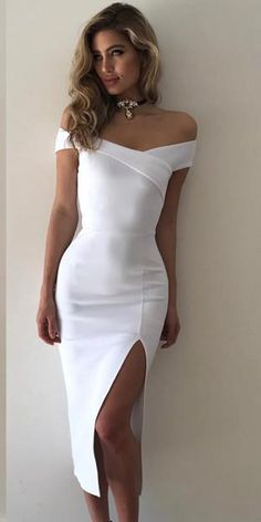 942f5aaa1690 Elegant Off Shoulder Cross Slit Bodycon Dress. Elegant White ...