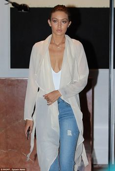 Gigi Hadid spotted as she leave her apartment in New York City… Gigi Hadid, Fashion Models, Fashion Outfits, White Bodysuit, Cropped Jeans, Celebrity Style, Celebrity Houses, Celebrity Outfits, Celebrity Weddings