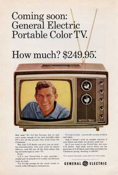 General Electric Ge Tv Television (1965). And my man on the screen <3