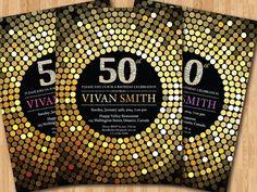 50th birthday invitation for Women. Diamond Gold Glitter Birthday Party invite. Adult Surprise Birthday. Elegant. Printable digital DIY.