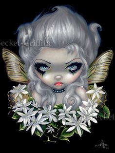 Starry Wild Jasmine Fairy flower gothic fantasy art by strangeling, $29.99
