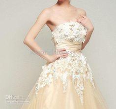 Vintage Tulle Wedding Dress Lace Wedding Dress Strapless Champagne Lace Flowers Appliques Satin Sash