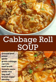 Hearty Soup Recipes, Cabbage Soup Recipes, Best Soup Recipes, Delicious Dinner Recipes, Healthy Recipes, Easy Cabbage Soup, Best Cabbage Rolls Recipe, Cabbage Hamburger Soup, Crockpot Cabbage Roll Soup