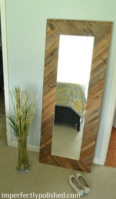 wood shim mirror frame at Imperfectly Polished