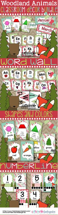Woodland Animals Theme Classroom Decor - Woodland Animals Calendar - Word Wall - Numberline and Shapes and Colors.