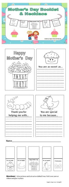 Celebrate Mother's Day by having your students create this adorable booklet and necklace. Students will be able to give it to someone who is special in their lives for Mother's Day. They may fill out their responses on kid lined paper in the booklet to answer prompts. Students will enjoy creating a necklace to give to someone they love. If you are a mother, I want to wish you a Happy Mother's Day! $1.50