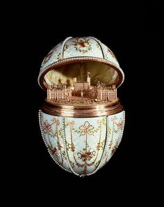 Faberge Egg with model of Gatchina Palace.