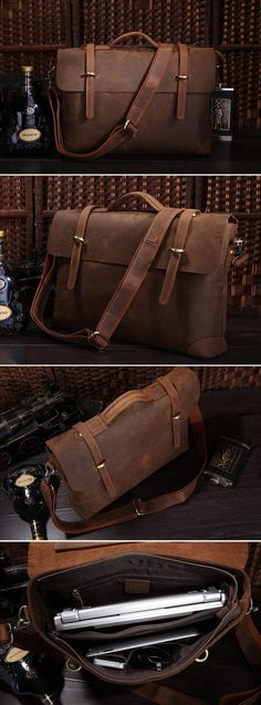 "Image of Vintage Handmade Crazy Horse Leather Briefcase Messenger 13"" 14"" Laptop / 13"" 15"" MacBook Bag (n368)"