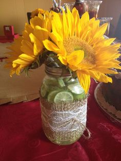 Mason jar and burlap vases