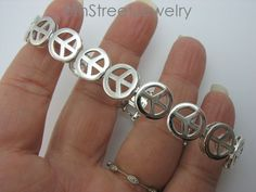 "oTc Sterling Silver 925 PEACE SIGN Link Bracelet 7-5/8""L x 3/8""W #oTcOTCInternational #Chain"