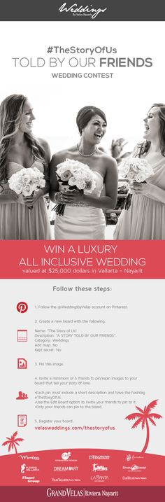 #TheStoryOfUs Discover how to win an all inclusive beach wedding at Vallarta-Nayarit. More information at http://velasweddings.com/thestoryofus