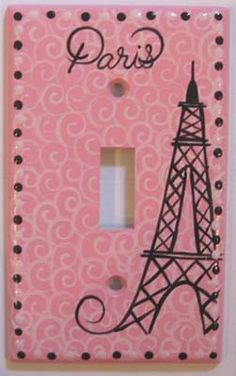 Girls Paris Swirl Hand Painted Single switchplate cover. $15.00, via Etsy.
