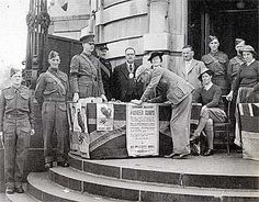Recruiting for the second world war outside Lambeth Town Hall, Brixton, London 1941