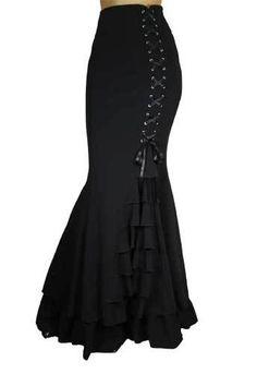 Black Fishtail Corset Mermaid Gothic Ruffle Romantic Extra Long Skirt | eBay