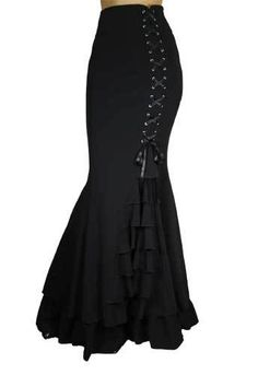 Black Fishtail Corset Mermaid Gothic Ruffle Romantic Extra Long Skirt | eBay
