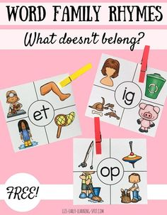Clip the picture that is NOT a rhyming word! These free word family cards are a fun rhyming activity for preschool or kindergarten! The Words, Made Up Words, Word Family Activities, Rhyming Activities, Indoor Activities, Summer Activities, Learning Phonics, Early Literacy, Kindergarten Activities