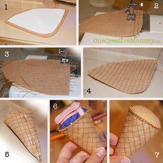 Steps for Making Felt Ice Cream Cone {OneCreativeMommy.com}