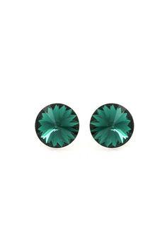 Floating Swarovski Crystal Studs in Emerald