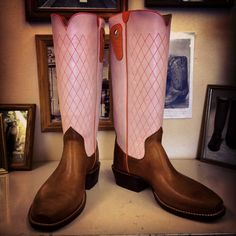 Custom Cowboy boot. Pink uppers with orange accents and Horween Football Grain vamps. #beckcowboyboots #beckboots #customboots #boots #cowboyboots #handmadecowboyboots #madeintexas #pink