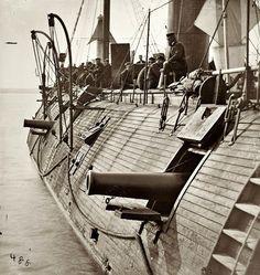 Historical Photos/ 1862, Virginia, USA--The USS Galena after battle...