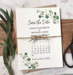 Green save the date card, rustic wedding announcement card Save the Date green wedding Save the Date. Rustic wedding save the date, green leaves, botanical wedding. The Save the Date is printed on ivory card s. Save The Date Wording, Save The Date Invitations, Rustic Invitations, Wedding Invitation Wording, Wedding Stationary, Save The Date Cards, Save The Date Ideas, Invites, Save The Date Designs